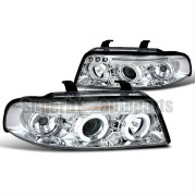 アウディ ヘッドライト 1999-2001 Audi A4 Dual Halo Led Clear Projector Headlights Chrome SpecD Tuning 1999...