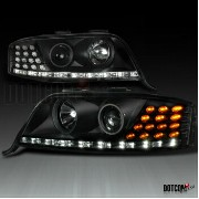 アウディ ヘッドライト FITS 02-04 AUDI A6 LED STRIP PROJECTOR BLACK HEADLIGHTS+AMBER LED TURN SIGNAL 2月4日アウディA6...