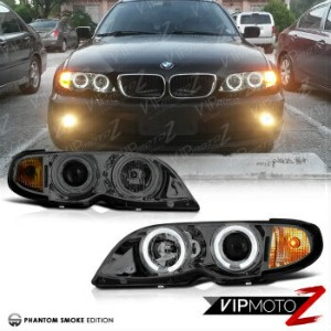 BMW ヘッドライト BMW E46 3-SERIES 4DR 02-05 Smoke Euro Halo Projector Headlight Lamps Amber Set BMW E46 3...