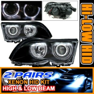 BMW 325i ヘッドライト 2 Sets HID 99-01 BMW E46 328I Halo Projector Headlight 2セットは99-01 BMW E46 328Iヘイロープロ...