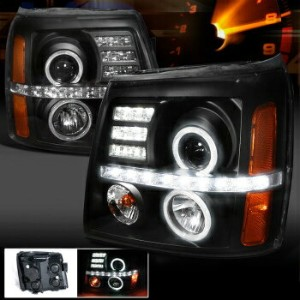 クライスラー キャデラック ヘッドライト 2002-2006 Cadillac Escalade Black LED DRL Projector Halo Headlights 2002...
