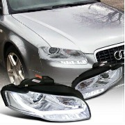 アウディ ヘッドライト 2006-2008 Audi A4 Projector Headlights W/BMW Style Led DRL Chrome SpecD Tuning 2006...