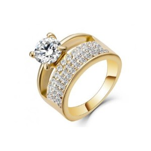 Double Ring AAA CZ 18K Gold Filled Wedding Ring For Women (Size-JP-14)