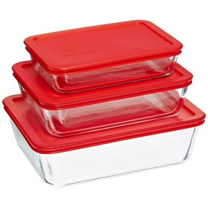 Pyrex Bakeware/Cookware Set with Red Plastic Covers 6 Piece, 3 Lids and 3 Boxes by Pyrex