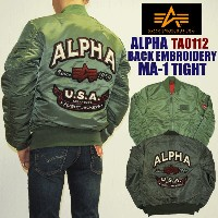 "【5%OFF!送料無料!】ALPHA アルファTA0112""BACK EMBROIDERY"" MA-1 TIGHT タイト"