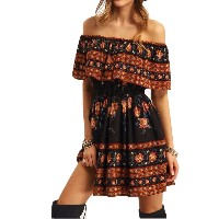 Women's Summer Off Shoulder Boho Floral Printed Ruffles Party Pleated Mini Dress