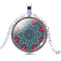 Vintage Silver Plated Mandala Glass Cabochon Yoga Pendant Necklace