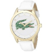 [ラコステ]Lacoste 腕時計 Victoria CrystalAccented Stainless Steel Watch with White Leather Band 2000894...