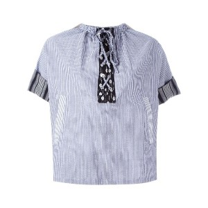 J.W.Anderson - striped laced top - women - コットン/リネン - 6