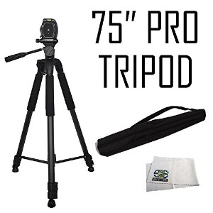 "75"" Professional Heavy Duty 3-ウェイ パン Head Tripod For Canon XA20, XA25, XH-A1, XH-A1S, XH-G1, XL-1S,..."