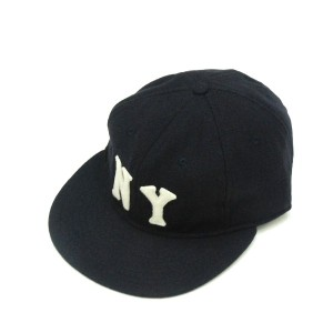 EBBETS FIELD FLANNELS / エベッツフィールドフランネルズ Wool 6Panel Ball Cap (New York Black Yankees1936) Navy