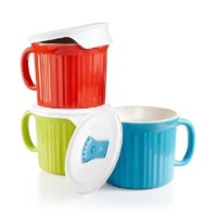 Corningware French White 6 piece Pop-In Mug Multi Color: Includes (1)fluted sprout mug with lid, (1...