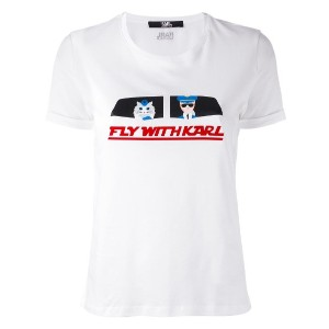 Karl Lagerfeld - Fly With Karl Tシャツ - women - コットン - XS