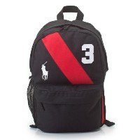 POLO RALPH LAUREN ポロラルフローレン リュック 950018 BLACK/RED BANNER STRIPE BACKPACK MD 【tibamo】