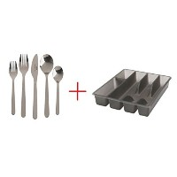 20 Piece Fornuft Flatware set with Smacker Silverware Cutlery Tray Organizer by Ikea by Casatii