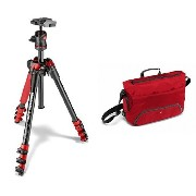 Manfrotto コンパクト三脚 Befree アルミ 4段 ボール雲台キット レッド + メッセンジャーバッグ Advancedコレクション セット
