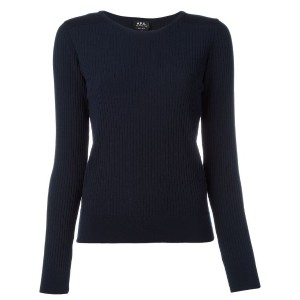 A.P.C. - ribbed detail sweatshirt - women - ポリアミド/viscose - XL
