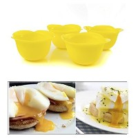 Egg Poacher Cups for Poached Sunny Side Up Runny Yolk Breakfast Eggs Silicone Set of 4 From Savvy...