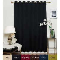 Black Wide Width Nickel Grommet Top Thermal Insulated Blackout Curtain 100 Inch Wide By 108 Inch...