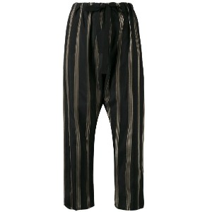 Hache - striped cropped trousers - women - キュプロ - 40