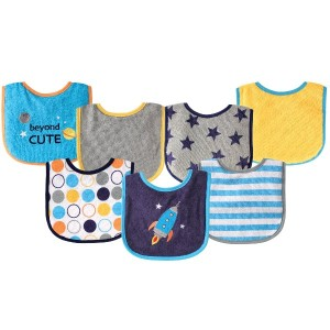 Luvable Friends 7 Piece Drooler Bibs with Waterproof Backing, Blue Spaceship by Luvable Friends ...