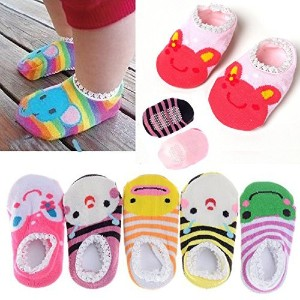 FlyingP 5Pairs Toddler Anti Slip Skid Socks for 6-18 Months Cute Animal Stripes No-Show Crew Boat...