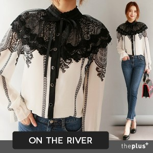 ★ ontheriver ★ Lace Cape Blouse / Front Ribbon / Korea Fashion / Plus size /