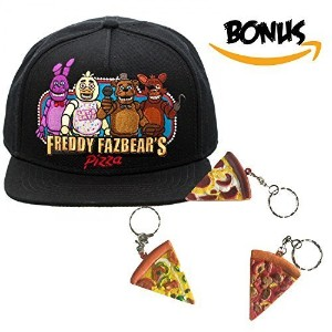 [BioWorld] FNAF Five Nights at Freddy s - Snapback Cap Hat and Pizza Keychain