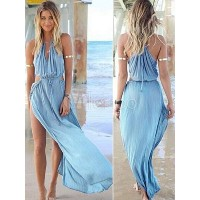 Blue High Split Chiffon Maxi Dress for Woman