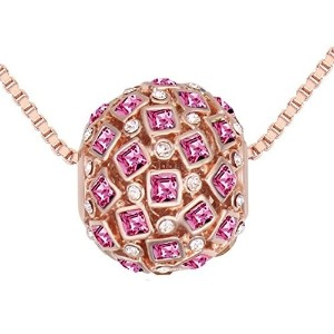 Showball 18K Rose Gold Plated Cubic Zirconia Crystal Pendant Necklace Pink