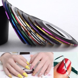 10 Colors Roll Mix Color Nail Art Tape Lace Line Design Sticker DIY For Gel Polish