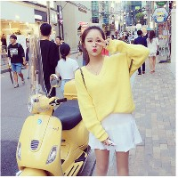 2016 autumn new Korean version of loose sets of candy color V-neck sweater shirt solid color sweater