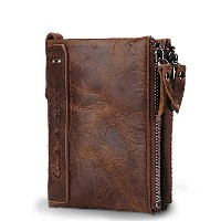 (Esiposs) Contacts Mens Genuine Leather Bifold Wallet Double Zipper Pocket Wallet Purse