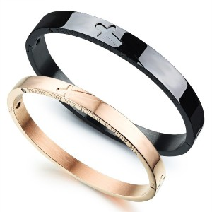 Crosses Couples Stainless Steel Bracelets Bangle Bracelet Crosses Blace and Rose Gold