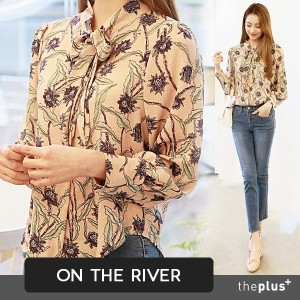 ★ ontheriver ★ Flower Pattern tie Set up blouse / Korean Fashion / High Quality / Super Sale