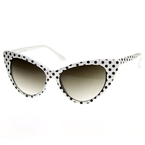 Polka Dot Cat Eye Womens Mod Fashion Super Cat Sunglasses (White Black-Dots w/ Red zeroUV Pouch)