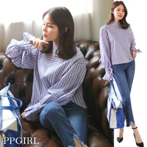 送料 0円★PPGIRL_9472 Coco blouse / stripe blouse / round neck shirt / frill sleeve / ribbon cuffs blou