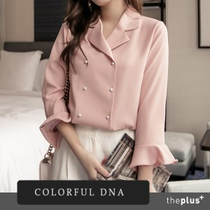 ★COLORFUL DNA★ Super Sale ★ Double Buttons Blouse / High Quality / Good Material / Korean Fashion