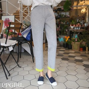 送料 0円★PPGIRL_9464 Neo banding pants / slim straight fit / neoprene / slacks / waist band pants