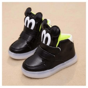 Child Canvas Shoes Candy Color High Single Baby Luminous Sneakers Casual Sport Shoes Cotton-made...