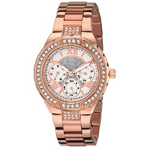 GUESS Womens U0111L3 Sparkling Hi-Energy Mid-Size Rose Gold-Tone Watch