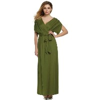 ANGVNS Women Lady Batwing Sleeve Deep V Neck Solid MaxiLong Dress Party Evening Full Gown with Belt...