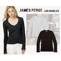 james perse ジェームスパース L/S RELAXED CASUAL ロングスリーブ Vネック 無地 Tシャツ【メール便対応商品】