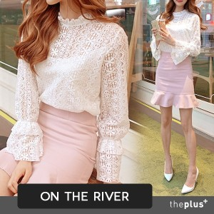 ★ontheriver★SuperSale ★ Half Neck Lace Blouse / High Quality / Inner Napping / Korean Fashion
