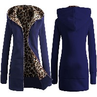 ebay AliExpress new winter hooded thick velvet leopard sweater European and American women s large...