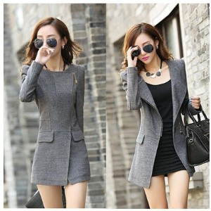 2016 autumn and winter womens Slim was thin in the long section of solid color students woolen...