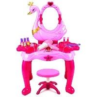 (Velocity Toys) Beauty Swan Dresser Pretend Play Battery Operated Toy Beauty Mirror Vanity Play S...