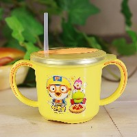 ★Pororo stainless Two hands Spill-resistant Cup★ food strage /korea character / Stainless Steel /