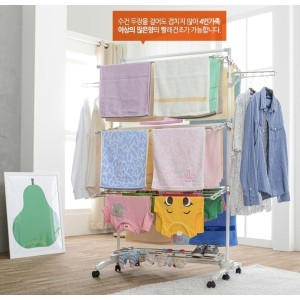 [Hestia Korea] Hestia Heavy Duty 3 Tier Stainless Steel Foldable Laundry Drying Rack Cloth Hanger...