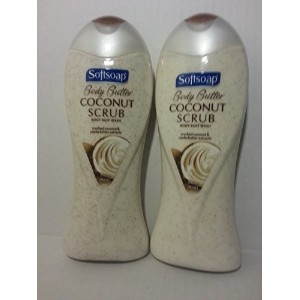 [アメリカ直送]Softsoap Body Butter Scrub Coconut and Jojoba Butter Body Wash 15 Oz (Pack of 2))